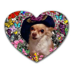 Chi Chi In Butterflies, Chihuahua Dog In Cute Hat Heart Mousepads by DianeClancy