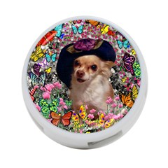 Chi Chi In Butterflies, Chihuahua Dog In Cute Hat 4 Port Usb Hub (two Sides)  by DianeClancy