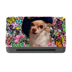Chi Chi In Butterflies, Chihuahua Dog In Cute Hat Memory Card Reader With Cf by DianeClancy