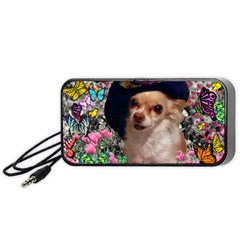 Chi Chi In Butterflies, Chihuahua Dog In Cute Hat Portable Speaker (black)  by DianeClancy