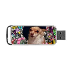 Chi Chi In Butterflies, Chihuahua Dog In Cute Hat Portable Usb Flash (two Sides) by DianeClancy