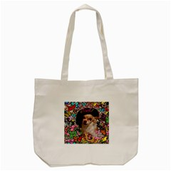 Chi Chi In Butterflies, Chihuahua Dog In Cute Hat Tote Bag (cream) by DianeClancy