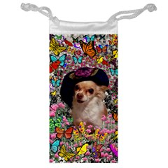 Chi Chi In Butterflies, Chihuahua Dog In Cute Hat Jewelry Bags by DianeClancy