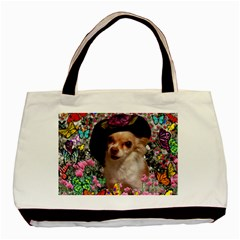 Chi Chi In Butterflies, Chihuahua Dog In Cute Hat Basic Tote Bag by DianeClancy