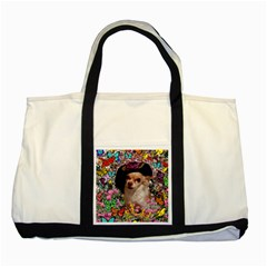 Chi Chi In Butterflies, Chihuahua Dog In Cute Hat Two Tone Tote Bag by DianeClancy