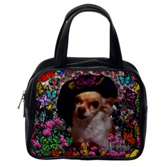 Chi Chi In Butterflies, Chihuahua Dog In Cute Hat Classic Handbags (one Side) by DianeClancy
