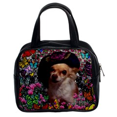 Chi Chi In Butterflies, Chihuahua Dog In Cute Hat Classic Handbags (2 Sides) by DianeClancy