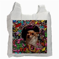 Chi Chi In Butterflies, Chihuahua Dog In Cute Hat Recycle Bag (two Side)  by DianeClancy