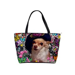 Chi Chi In Butterflies, Chihuahua Dog In Cute Hat Shoulder Handbags by DianeClancy