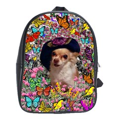 Chi Chi In Butterflies, Chihuahua Dog In Cute Hat School Bags(large)  by DianeClancy
