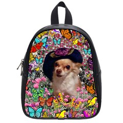 Chi Chi In Butterflies, Chihuahua Dog In Cute Hat School Bags (small)  by DianeClancy