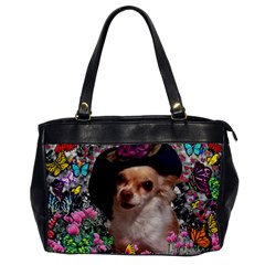 Chi Chi In Butterflies, Chihuahua Dog In Cute Hat Office Handbags by DianeClancy