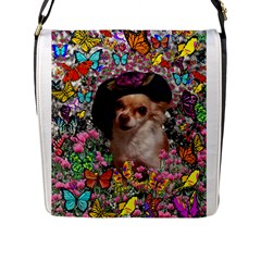 Chi Chi In Butterflies, Chihuahua Dog In Cute Hat Flap Messenger Bag (l)  by DianeClancy