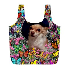 Chi Chi In Butterflies, Chihuahua Dog In Cute Hat Full Print Recycle Bags (l)  by DianeClancy