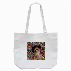 Chi Chi In Butterflies, Chihuahua Dog In Cute Hat Tote Bag (white) by DianeClancy