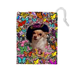 Chi Chi In Butterflies, Chihuahua Dog In Cute Hat Drawstring Pouches (large)  by DianeClancy