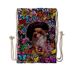 Chi Chi In Butterflies, Chihuahua Dog In Cute Hat Drawstring Bag (small) by DianeClancy