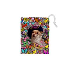 Chi Chi In Butterflies, Chihuahua Dog In Cute Hat Drawstring Pouches (xs)  by DianeClancy