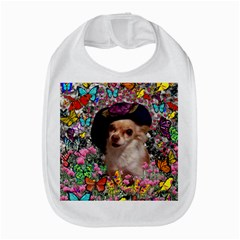 Chi Chi In Butterflies, Chihuahua Dog In Cute Hat Bib by DianeClancy