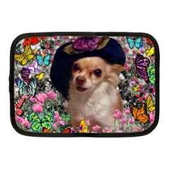 Chi Chi In Butterflies, Chihuahua Dog In Cute Hat Netbook Case (medium)  by DianeClancy