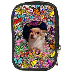 Chi Chi In Butterflies, Chihuahua Dog In Cute Hat Compact Camera Cases by DianeClancy