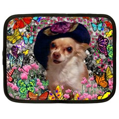 Chi Chi In Butterflies, Chihuahua Dog In Cute Hat Netbook Case (xxl)  by DianeClancy