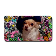 Chi Chi In Butterflies, Chihuahua Dog In Cute Hat Medium Bar Mats by DianeClancy