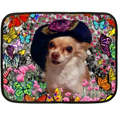 Chi Chi In Butterflies, Chihuahua Dog In Cute Hat Double Sided Fleece Blanket (mini)  by DianeClancy