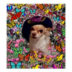 Chi Chi In Butterflies, Chihuahua Dog In Cute Hat Shower Curtain 66  X 72  (large)  by DianeClancy