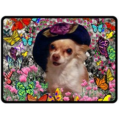 Chi Chi In Butterflies, Chihuahua Dog In Cute Hat Fleece Blanket (large)  by DianeClancy