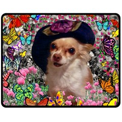 Chi Chi In Butterflies, Chihuahua Dog In Cute Hat Fleece Blanket (medium)  by DianeClancy