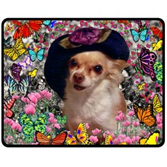 Chi Chi In Butterflies, Chihuahua Dog In Cute Hat Double Sided Fleece Blanket (medium)  by DianeClancy