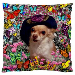Chi Chi In Butterflies, Chihuahua Dog In Cute Hat Large Flano Cushion Case (two Sides) by DianeClancy