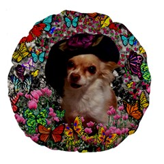 Chi Chi In Butterflies, Chihuahua Dog In Cute Hat Large 18  Premium Flano Round Cushions by DianeClancy
