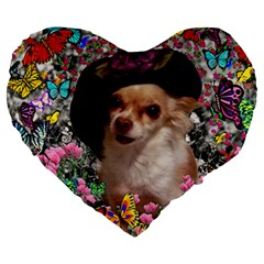 Chi Chi In Butterflies, Chihuahua Dog In Cute Hat Large 19  Premium Flano Heart Shape Cushions by DianeClancy