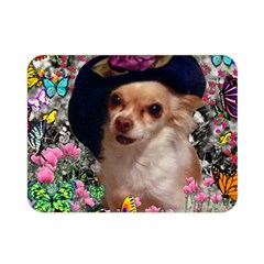 Chi Chi In Butterflies, Chihuahua Dog In Cute Hat Double Sided Flano Blanket (mini)  by DianeClancy