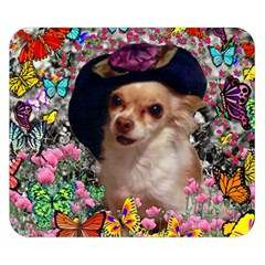Chi Chi In Butterflies, Chihuahua Dog In Cute Hat Double Sided Flano Blanket (small)  by DianeClancy