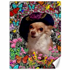 Chi Chi In Butterflies, Chihuahua Dog In Cute Hat Canvas 36  X 48   by DianeClancy