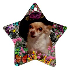 Chi Chi In Butterflies, Chihuahua Dog In Cute Hat Star Ornament (two Sides)  by DianeClancy