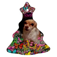 Chi Chi In Butterflies, Chihuahua Dog In Cute Hat Christmas Tree Ornament (2 Sides) by DianeClancy