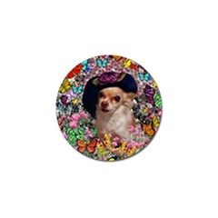 Chi Chi In Butterflies, Chihuahua Dog In Cute Hat Golf Ball Marker (4 Pack)