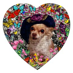 Chi Chi In Butterflies, Chihuahua Dog In Cute Hat Jigsaw Puzzle (heart) by DianeClancy