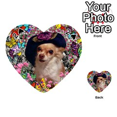 Chi Chi In Butterflies, Chihuahua Dog In Cute Hat Playing Cards 54 (heart)  by DianeClancy
