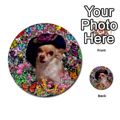 Chi Chi In Butterflies, Chihuahua Dog In Cute Hat Multi Purpose Cards (round)  by DianeClancy