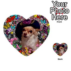 Chi Chi In Butterflies, Chihuahua Dog In Cute Hat Multi Purpose Cards (heart)  by DianeClancy