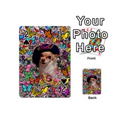 Chi Chi In Butterflies, Chihuahua Dog In Cute Hat Playing Cards 54 (mini)  by DianeClancy