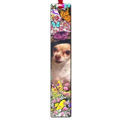 Chi Chi In Butterflies, Chihuahua Dog In Cute Hat Large Book Marks by DianeClancy