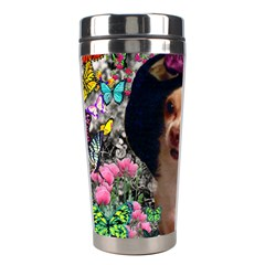 Chi Chi In Butterflies, Chihuahua Dog In Cute Hat Stainless Steel Travel Tumblers by DianeClancy