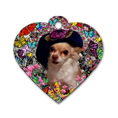 Chi Chi In Butterflies, Chihuahua Dog In Cute Hat Dog Tag Heart (one Side) by DianeClancy
