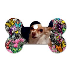 Chi Chi In Butterflies, Chihuahua Dog In Cute Hat Dog Tag Bone (one Side) by DianeClancy